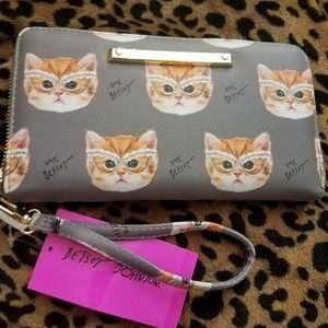 Betsey Johnson Cat w/Glasses Wallet Wristlet NWT